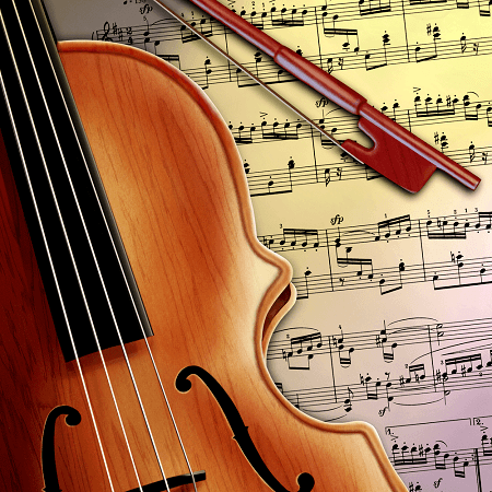 Violin On Music Notes