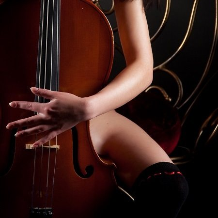Naked Woman Hugging Violin